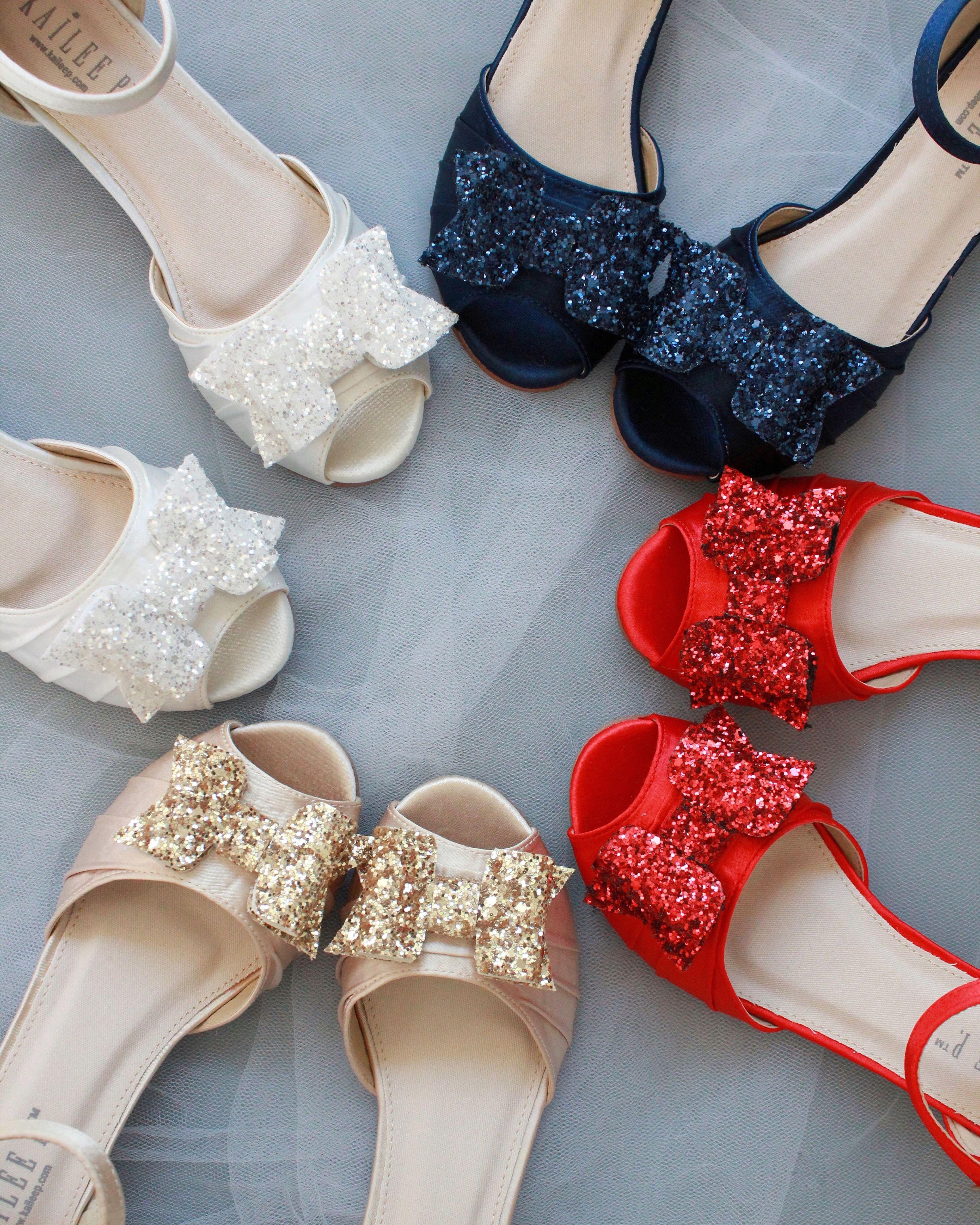 Satin Low Heel Peep Toe Sandals With Rock Glitter Bow Low Heel Sandals Wedding Shoes Low Heel Wedding Shoes Heels
