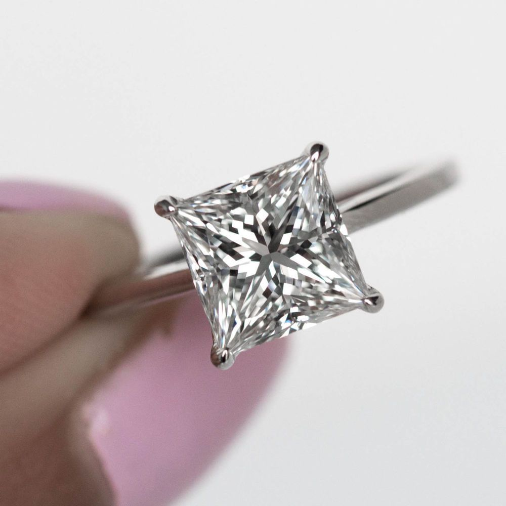 Certified ct princess cut diamond solitaire engagement ring k