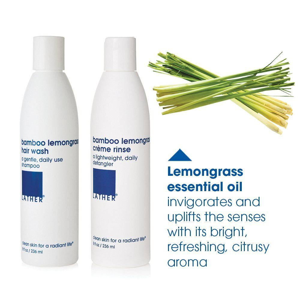 18581ccd0514 LATHER Bamboo Lemongrass Hair Wash and Crème Rinse Duo 8 Oz Bottles ...