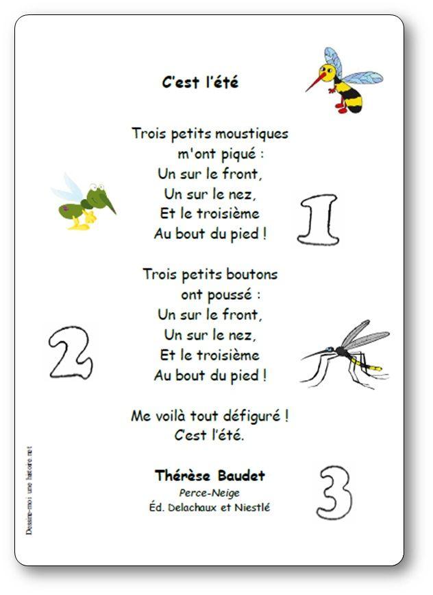 Poesie C Est L Ete Trois Petits Moustiques De Therese Baudet C Est L Ete Comptines Comptines Enfants Chansons Comptines