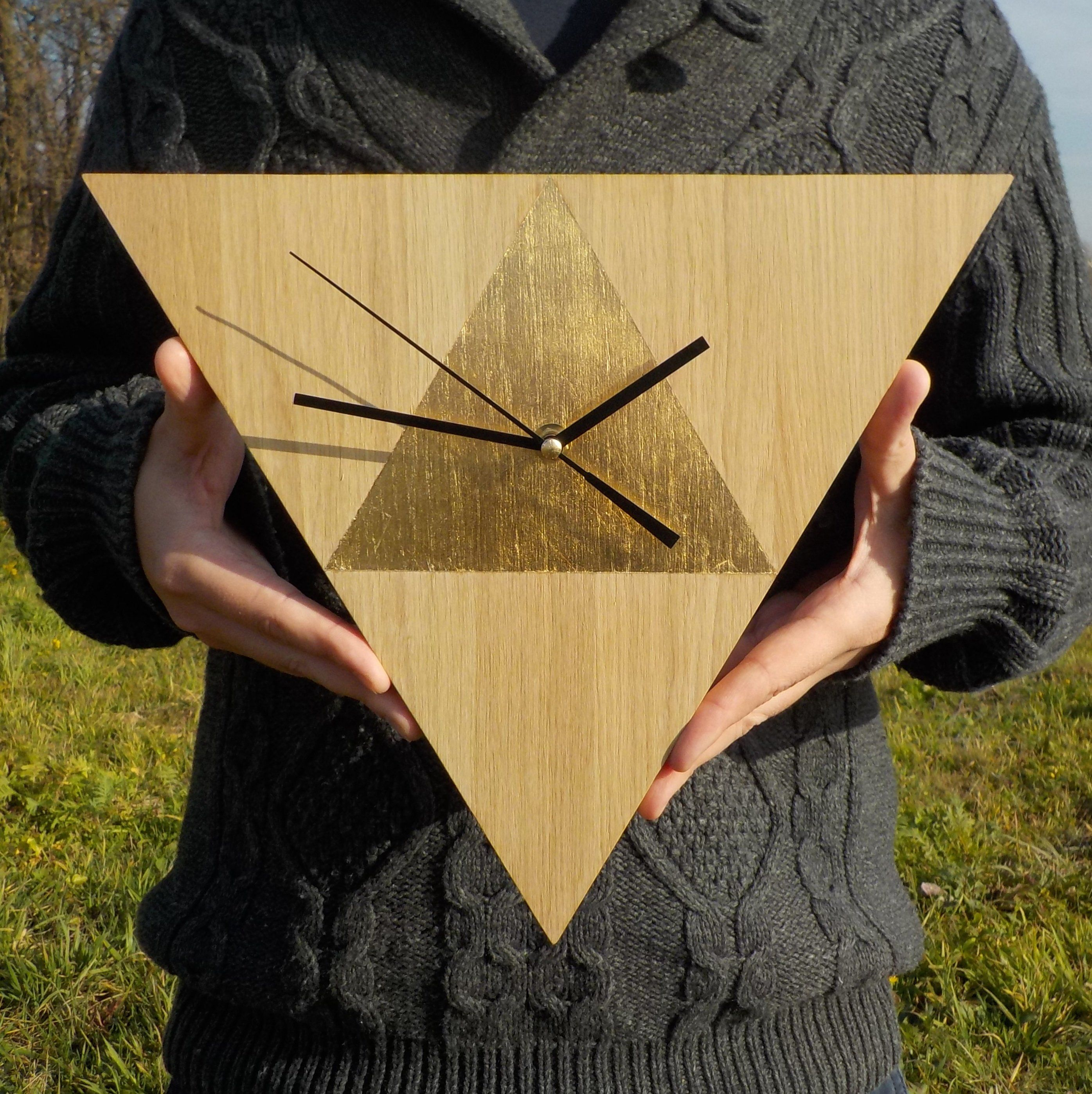 Triangle Wall Clock Gold Oak Clock Modern Clock 12 60 32cm Oak Wall Clock Minimalist Unusual Home Decor And Office Silent Clock