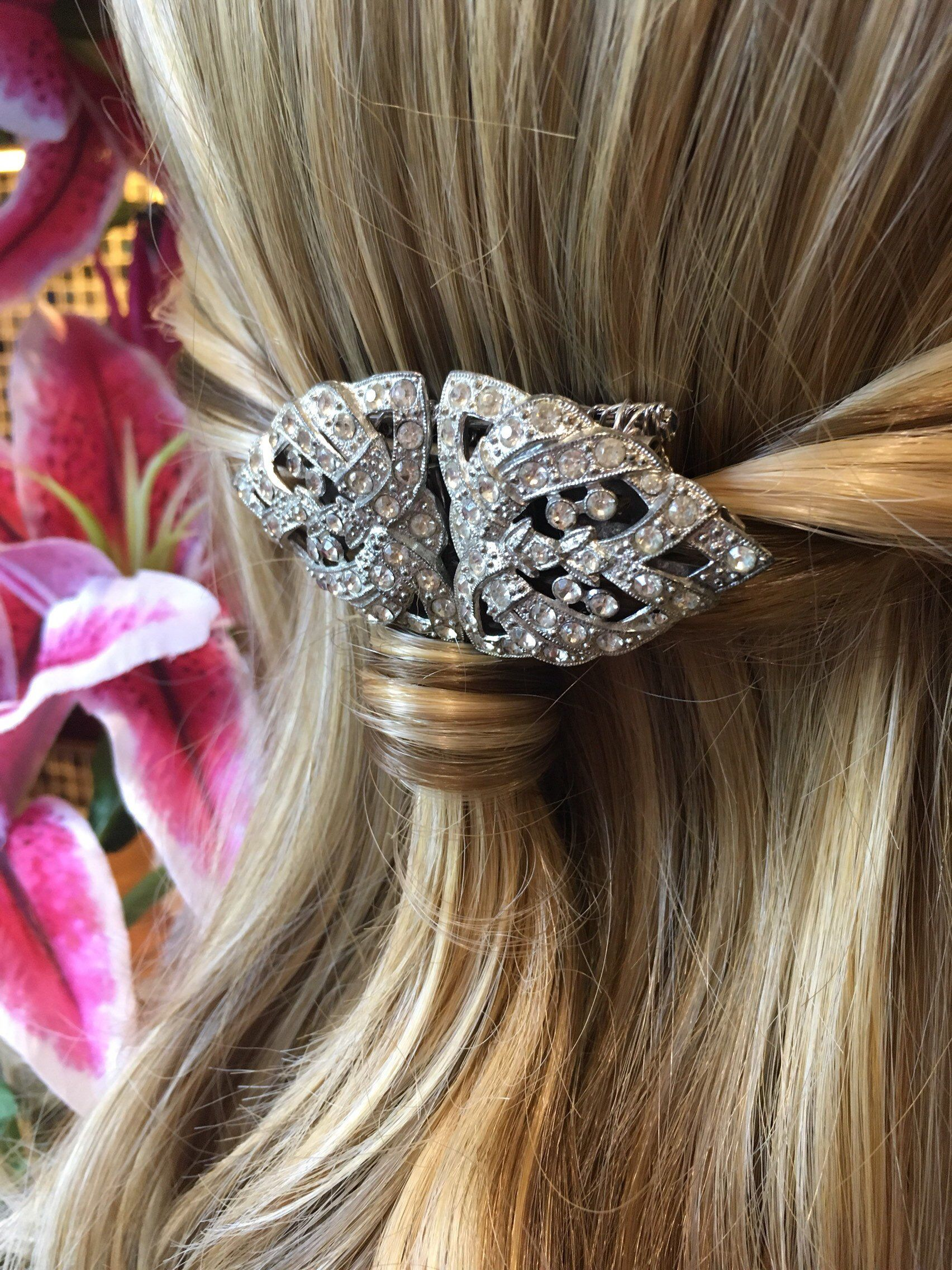 art deco diamanté hair comb- vintage bridal, bridesmaid