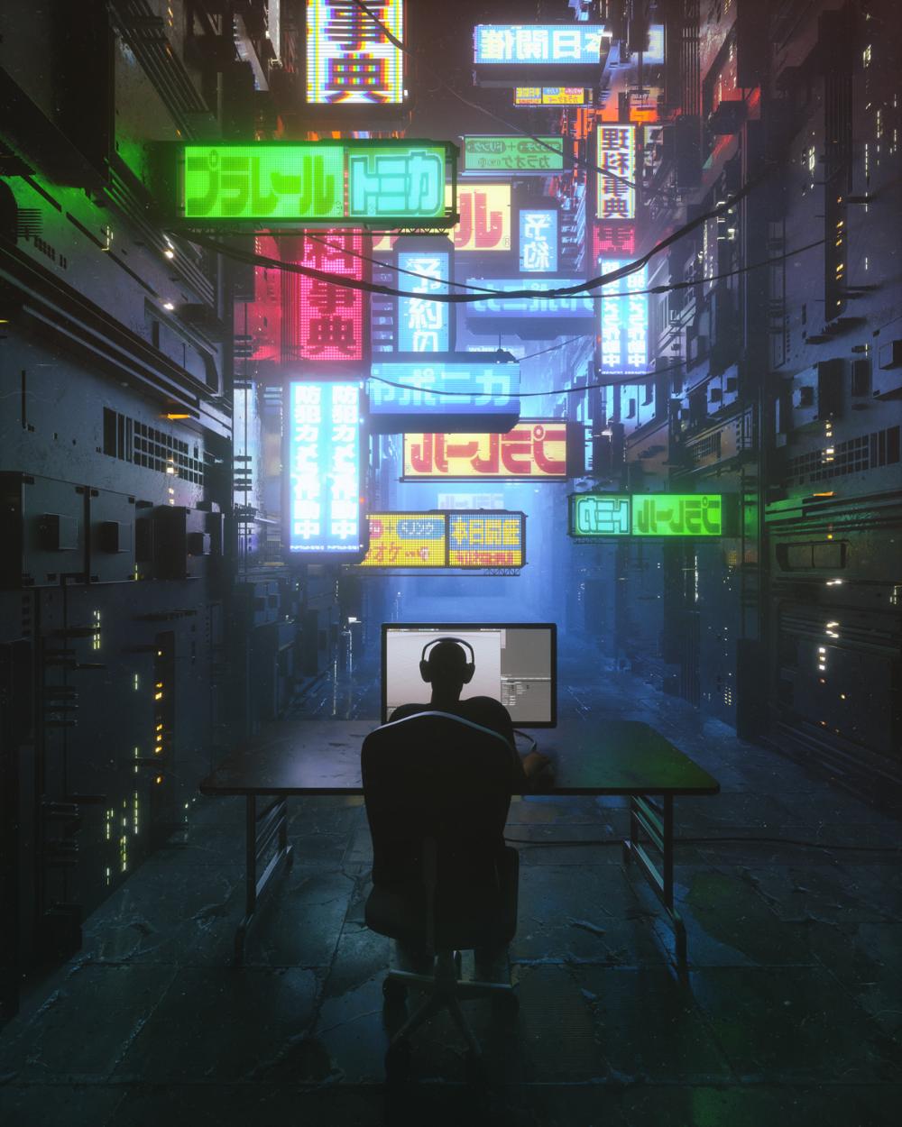 王 浩宇 on Behance Cyberpunk city, City iphone wallpaper