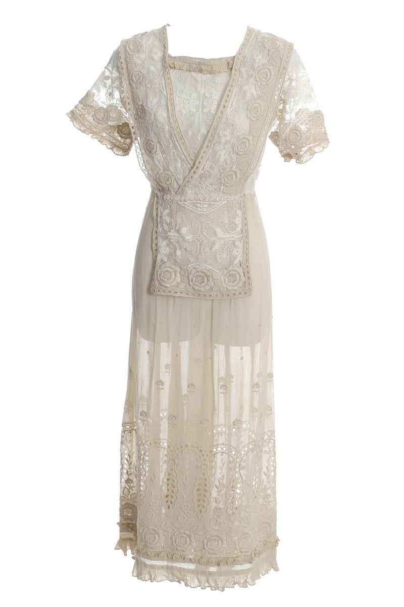 Lace dress rose  s Edwardian Vintage Lace Dress Fine Embroidery Roses  Products