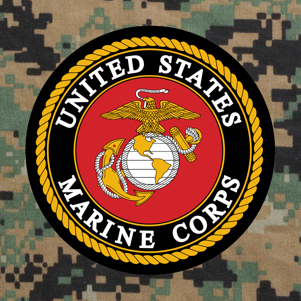 United States Marine Corps Emblem on Digital Camouflage