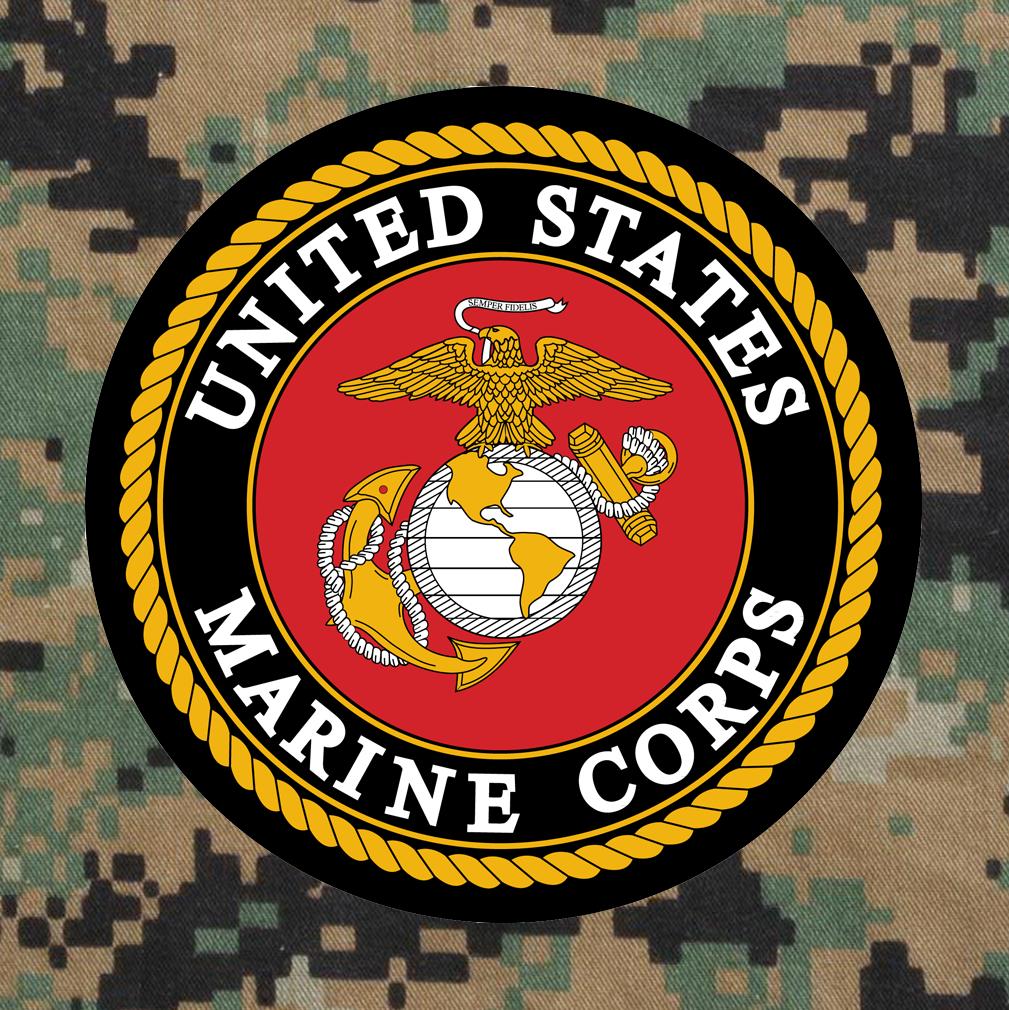United States Marine Corps Emblem on Digital Camouflage