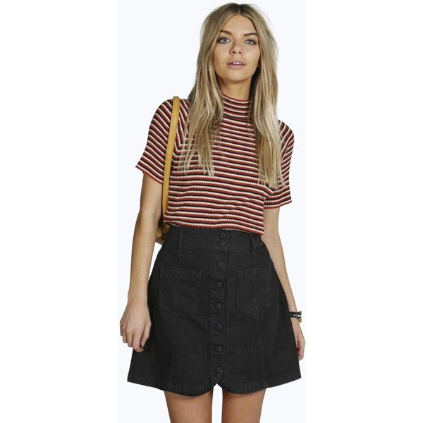 ed5dd7dd4d Boohoo Blue Rachel Curved Hem Patch Pocket Denim Skirt (35 CAD) ❤ liked on  Polyvore featuring skirts
