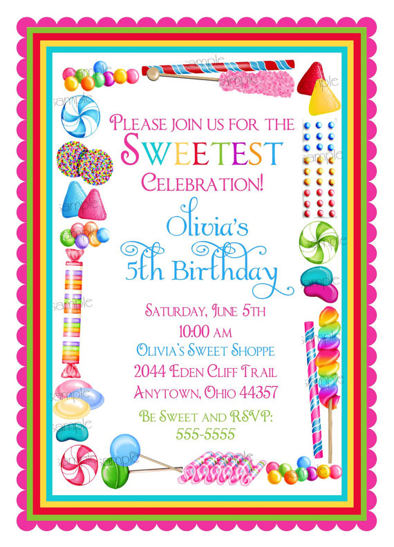candy birthday invitations candy sprinkle sweet shoppe sweet shop