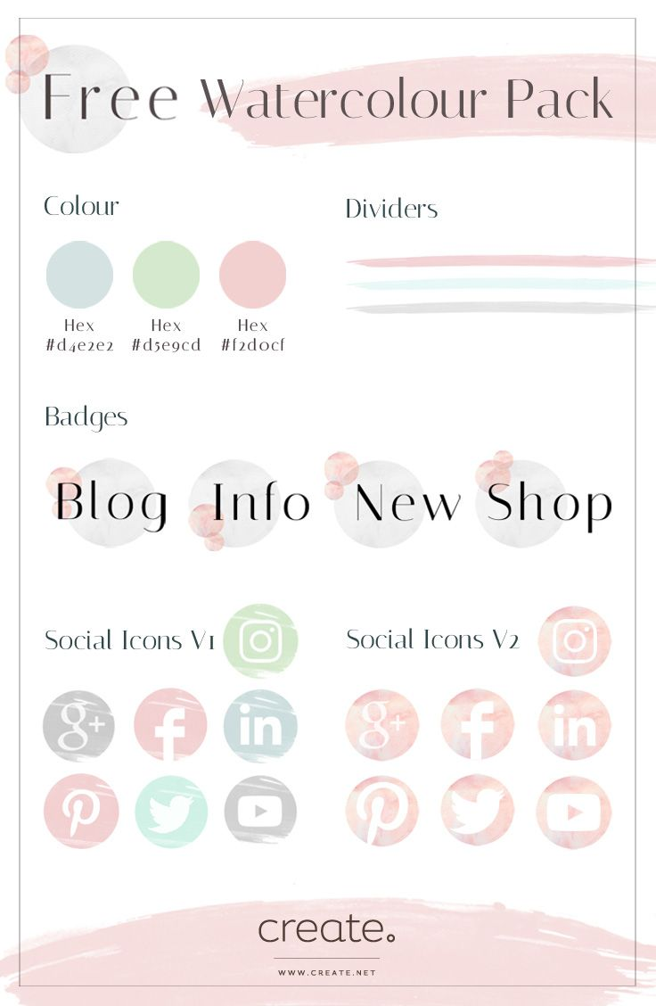 Freshen up your website with new exclusive social icons badges creates free watercolour pack including social media icons badges and dividers magicingreecefo Images