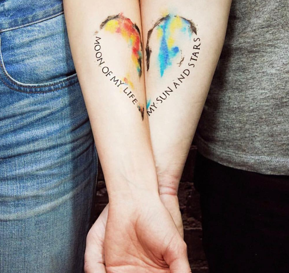 couples matching tattoos - 800×721