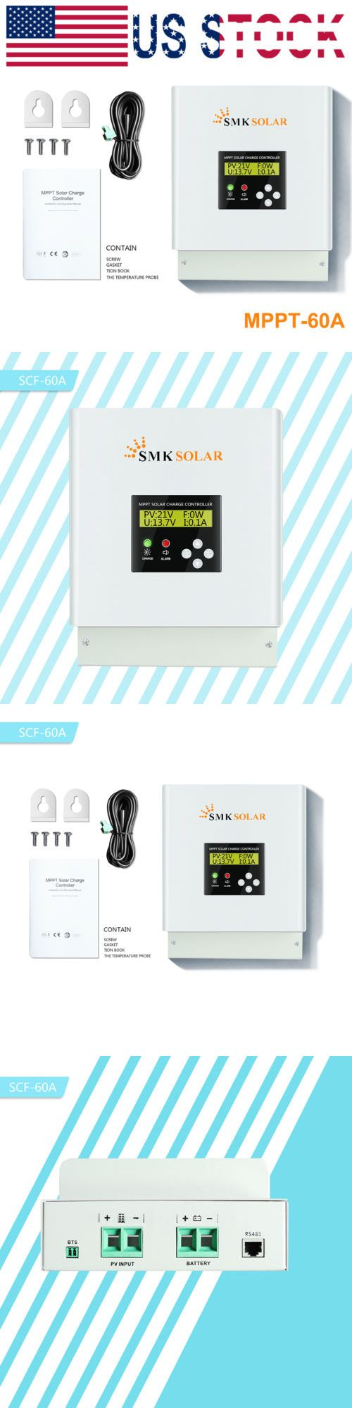 Home Improvement 60a Mppt Solar Charge Controller 12 24 36 48v Auto 100v Fan Cooling Controller Alternative & Solar Energy