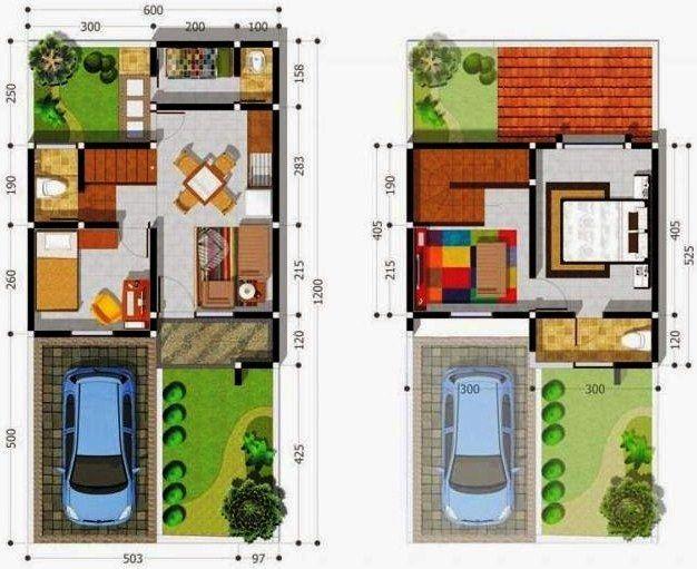Denah Rumah Minimalis 2 Lantai Ukuran 6x12 Denah Rumah Rumah Rumah Minimalis
