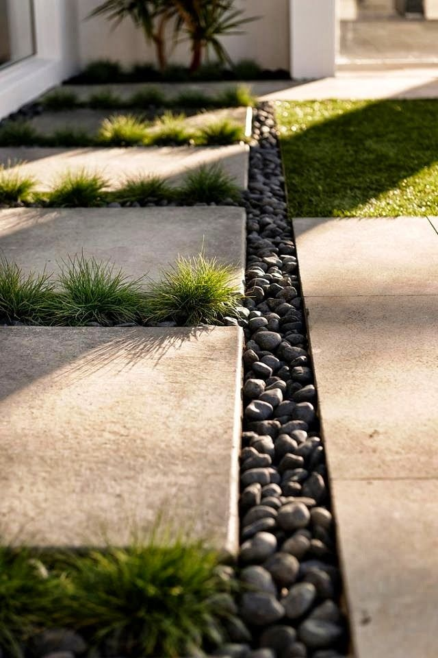 Concrete Pavers Black Pebbles Google Search Backyard