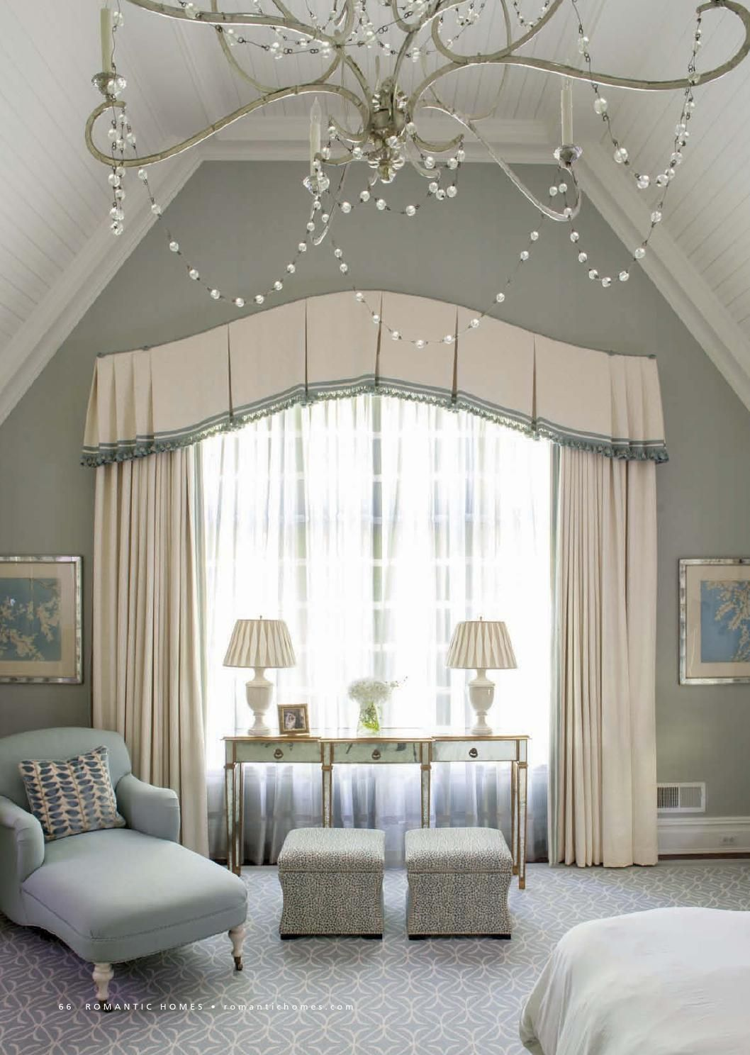 Bedroom From Romantic Homes 201405 Like Window Treatment