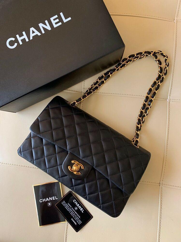 8e9b08a41de Authentic Chanel Black Lambskin Medium Classic Double Flap Bag ...
