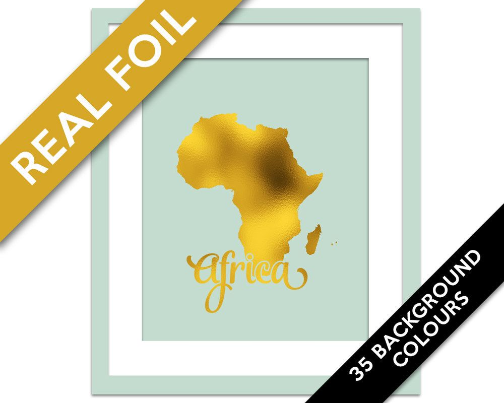 Africa Map - Gold Foil Print - Gold Africa Print - Gold Foil Map ...