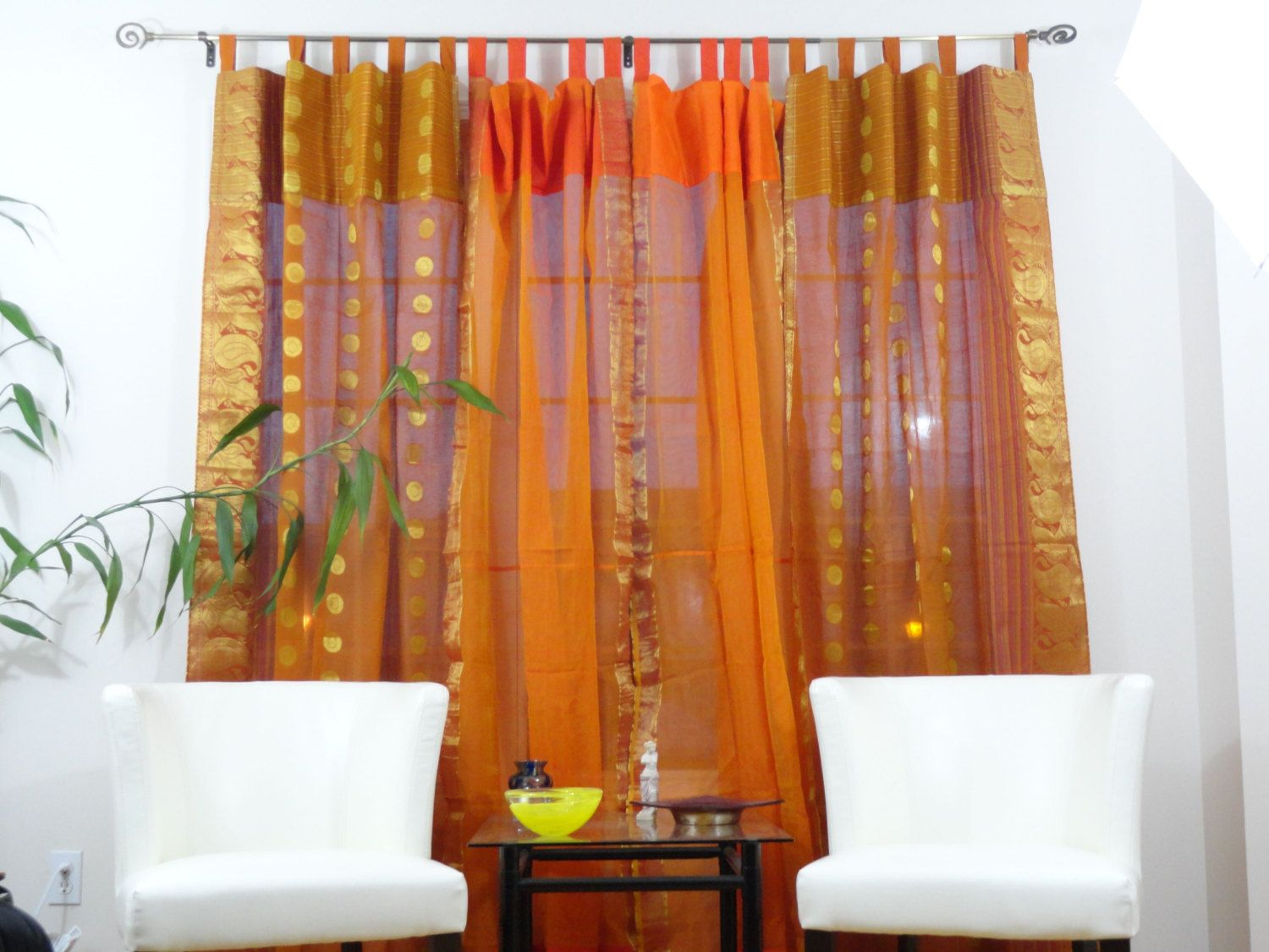 living room window valance ideas%0A Window curtains  indian  ethnic custom cotton silk drapes or valences   Window brown orange ethnic curtains  home decor idea  From Artikrti