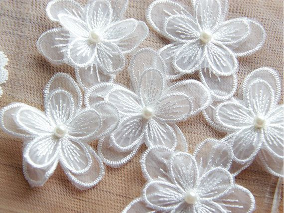 Floral Lace Applique Embroidery Lace Flowers 3D Lace Flower With Pearl Details For Gown ...