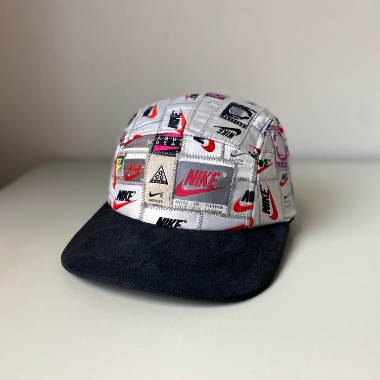 Art I Made This Hat Out Of Vintage Nike Tags From The 90s Streetwear Vintage Nike Streetwear Fashion Reworked Nike