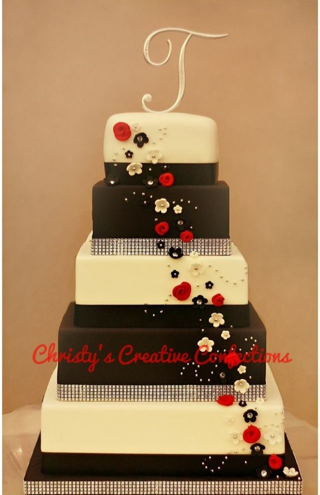 Red Black and White square wedding cake | Cakes I Create | Pinterest ...