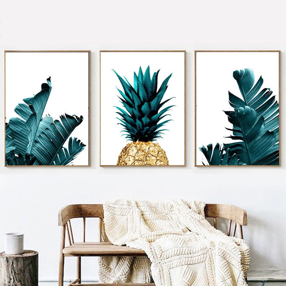 Gold pineapple palm leaf wall art set of botanical print download