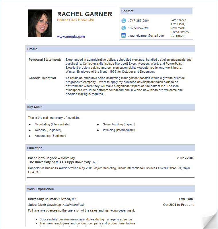 pic  profile  personal statement  career objective   key skills  education  work experience