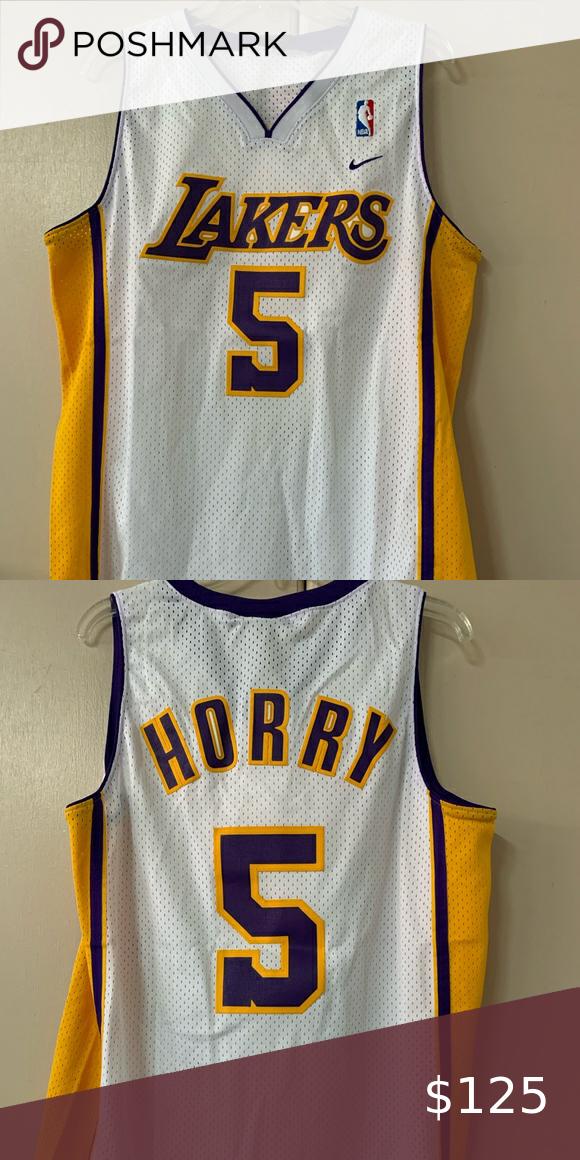 NIKE ROBERT HORRY #5 LAKERS WHITE/PURPLE/GOLD SZ M | Robert horry ...