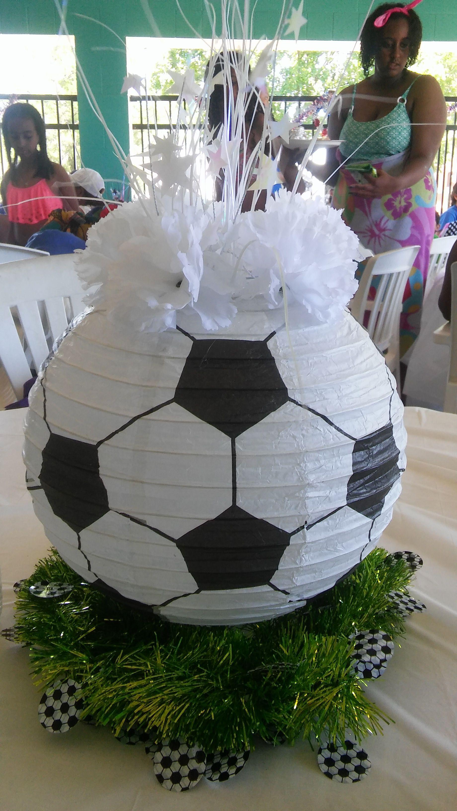 Soccer ball paper lantern centerpiece parties