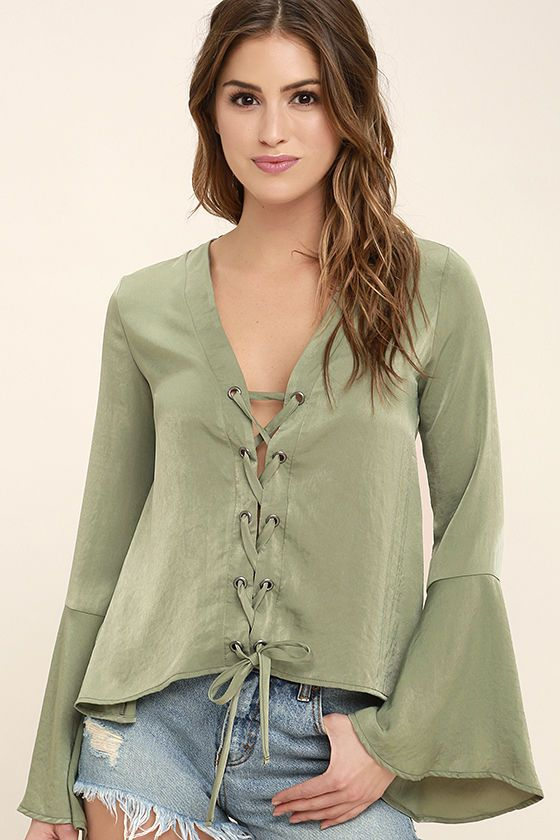 e3a24dafb5 Drift away into a daydream with the Slip Away Sage Green Long Sleeve Lace-Up  Top! Silky