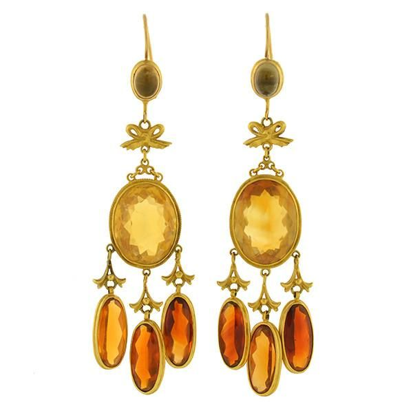 Victorian 14kt Madeira Citrine Long Hanging Earrings A Brandt Son