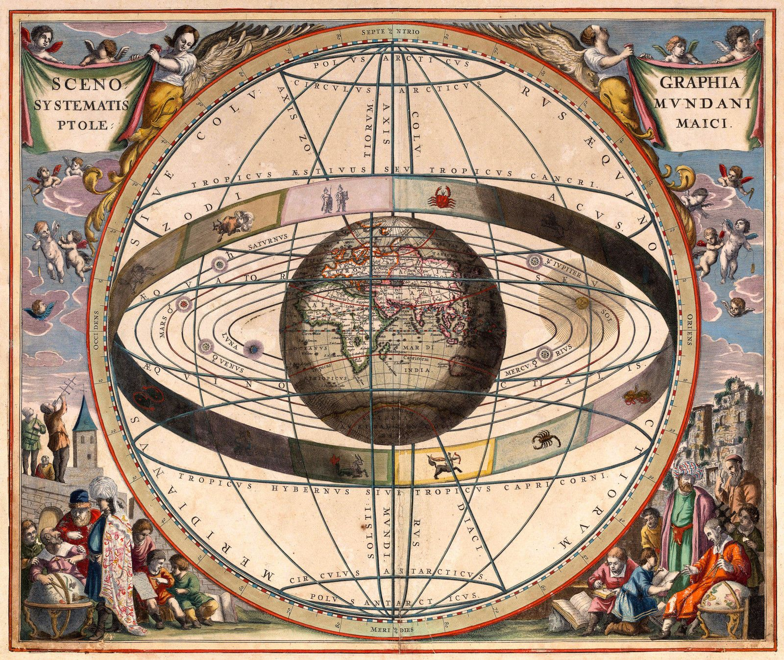 antique astrology world map vintage 1660 fade resistant hd print or canvas in art prints ebay