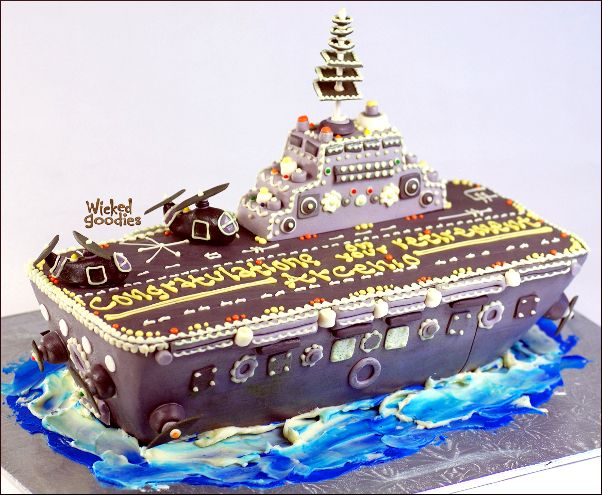 How to Make an Aircraft Carrier Cake by Wicked Goodies: http://www.wickedgoodies.net/2010/08/how-to-capture-the-essence-of-an-aircraft-carrier-with-cake/