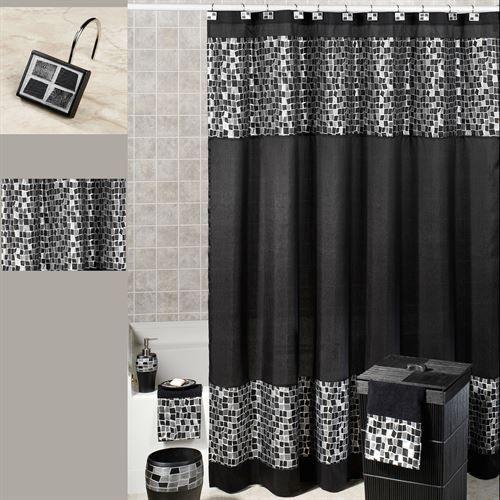 Black Mosaic Stone Fabric Shower Curtain Black Shower Curtains