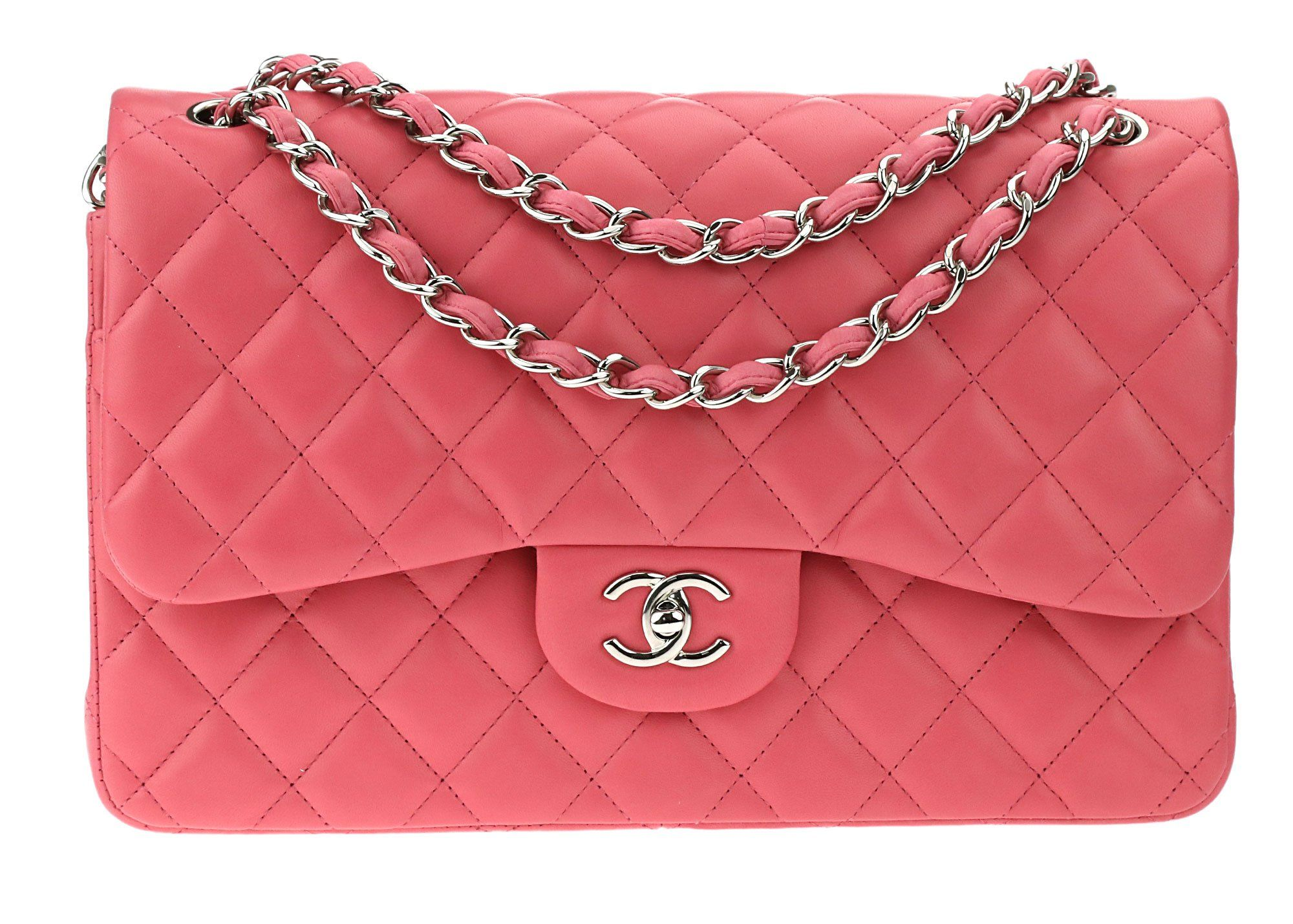 9a2551b4f1d7 Chanel Classic Pink Lambskin Leather Jumbo Double Flap Bag | CHANEL ...