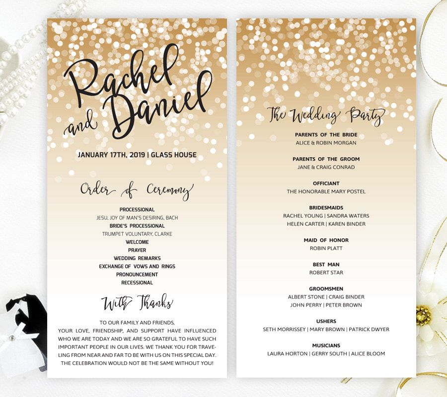 Gold confetti wedding programs printed on luxury pearlescent