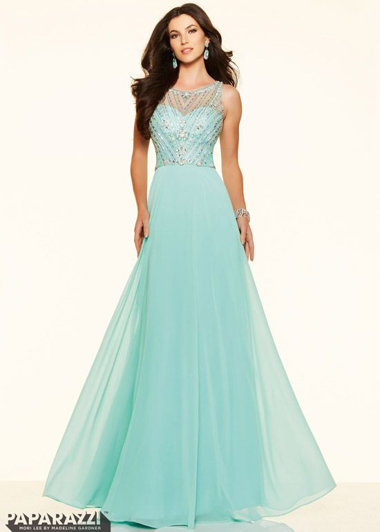 2016 Trends Mint Illusion Beaded Bodice Open Back Chiffon Prom Dress