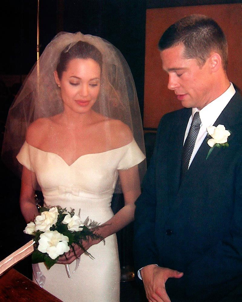 The Most Iconic Movie Wedding Dresses Of All Time In 2020 Movie Wedding Dresses Angelina Jolie Wedding Dress Angelina Jolie Wedding