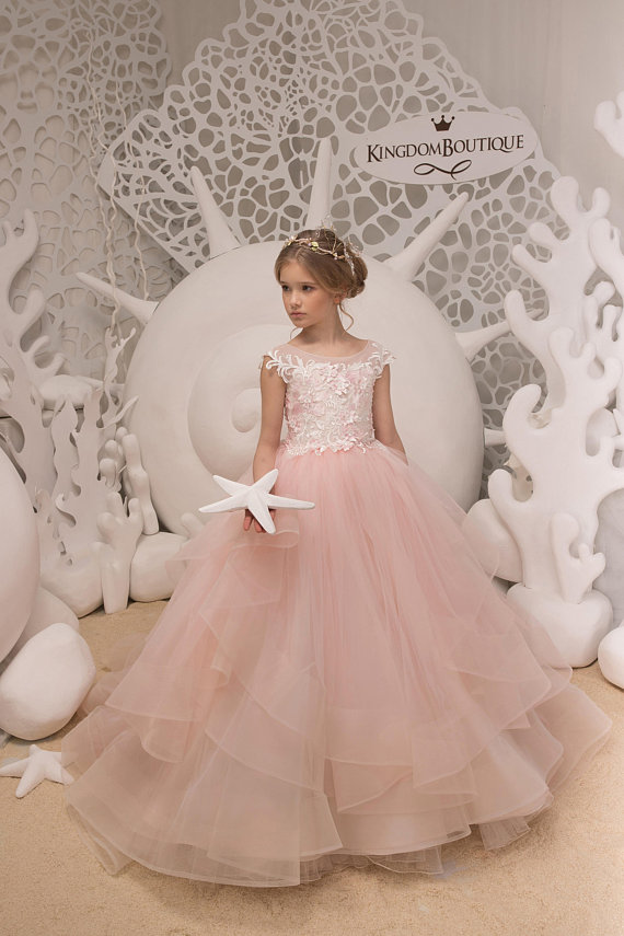 Ivory and Blush Pink Flower Girl Dress - Birthday Wedding party ...