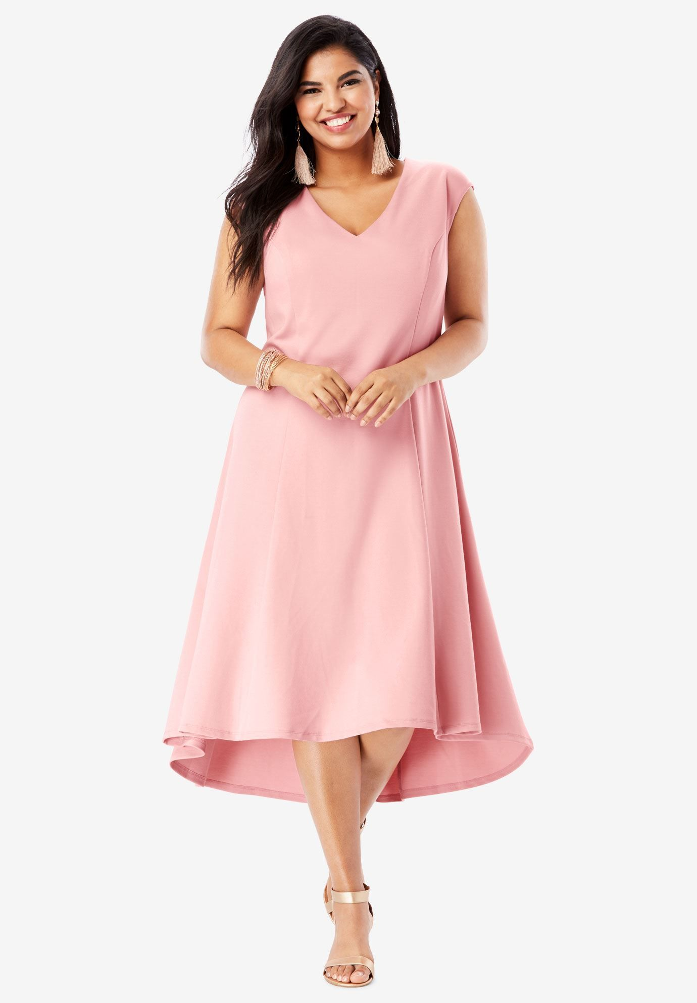 c72e449cccf8 Ultimate Ponte Fit & Flare Dress with High-Low Hem, SOFT BLUSH ...