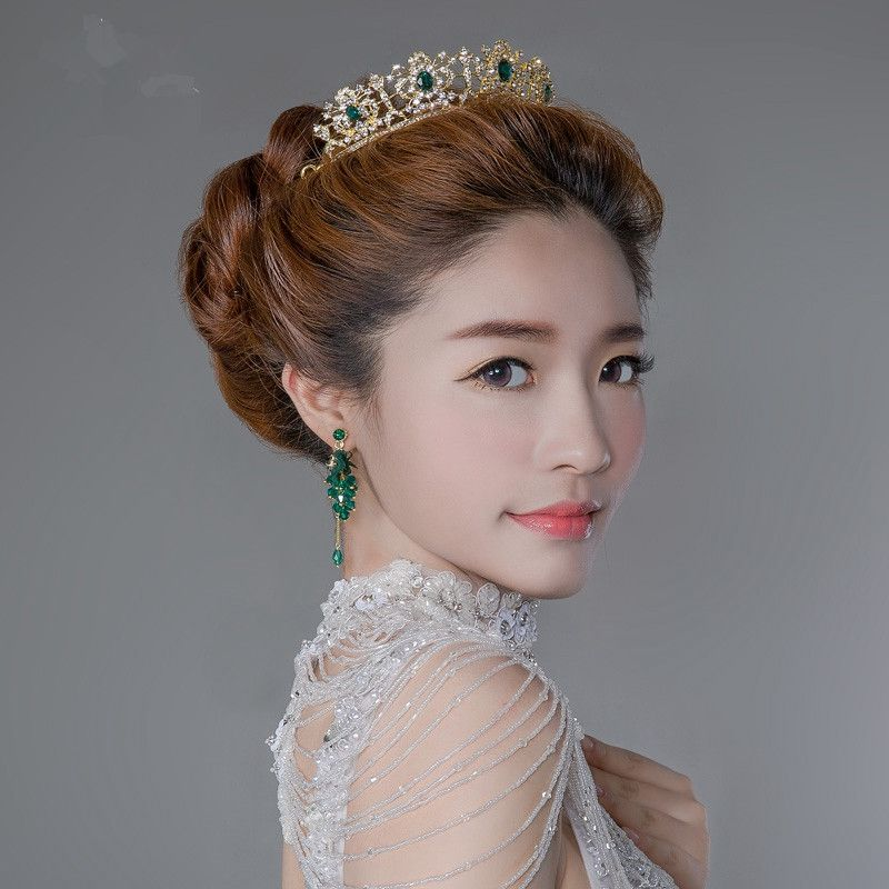 Cheap Beautiful Wedding Bridal Crowns Green Diamond Jewelry Imported From China Hair Accessories Bride Party Tiara