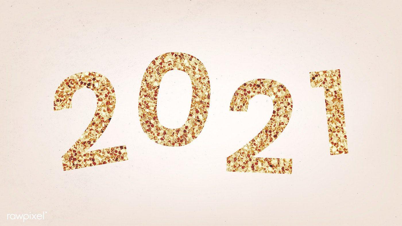 Festive shimmering golden 2021 illustration free image