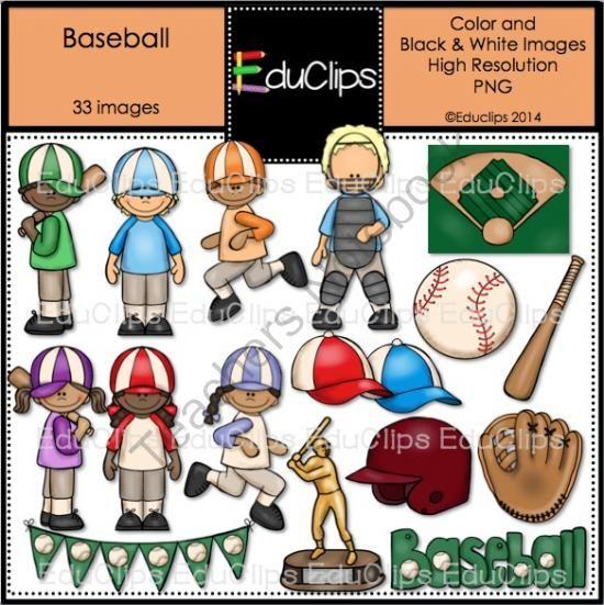 Baseball Clip Art Bundle from Educlips on TeachersNotebook.com -  (33 pages)  - Baseball Clip Art Bundle - action figures playing Baseball