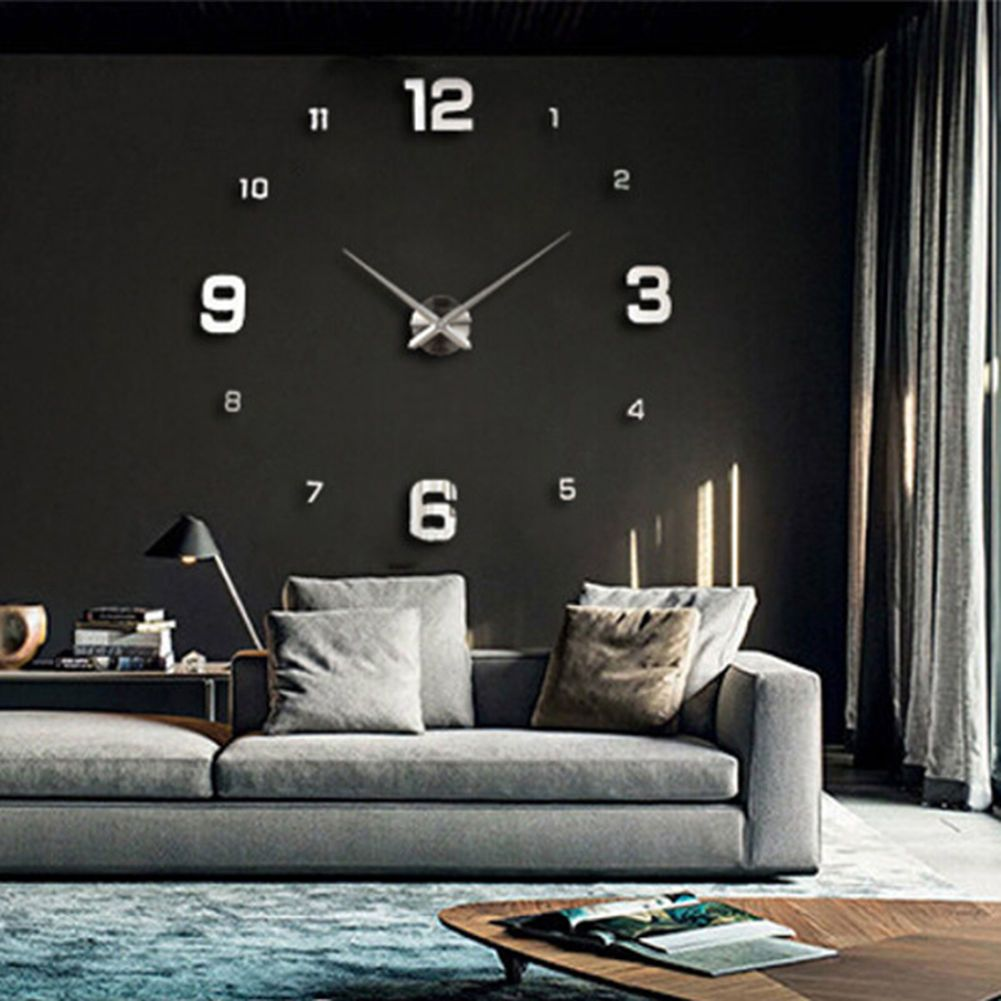 Modern Art Design Big Diy 3D Mirror Wall Workable Clock