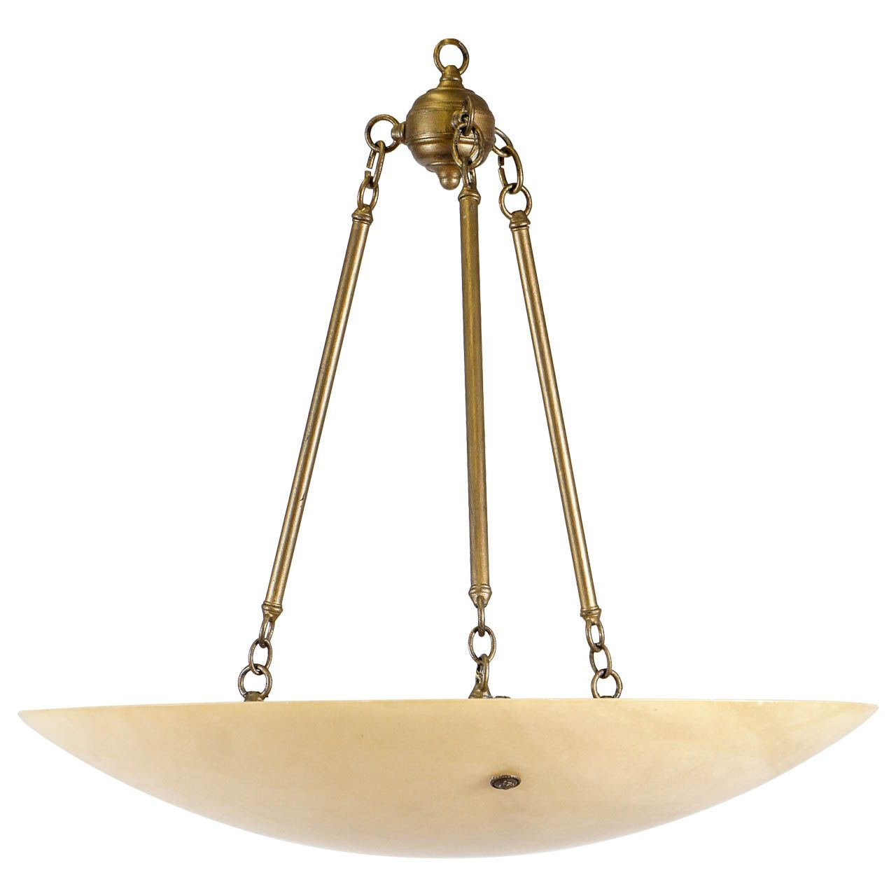 Large Neoclassical Alabaster Lighting Fixture Pendant Light