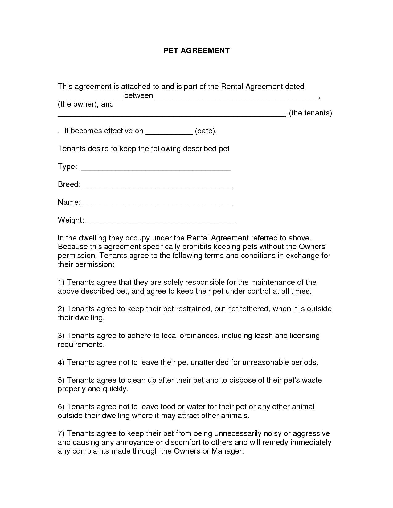 Free Easy Lease Agreement To Print Printable As Doc