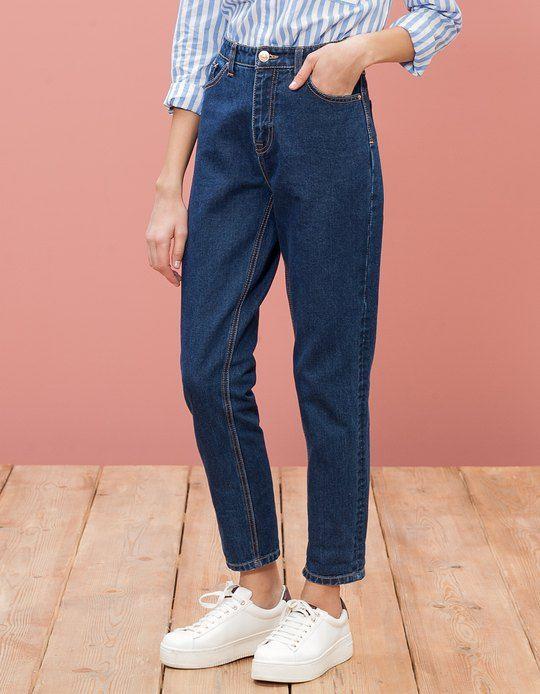pantalon denim mom fit jeans femme stradivarius. Black Bedroom Furniture Sets. Home Design Ideas