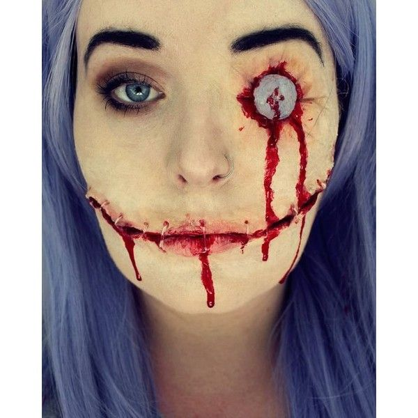 20 Creepiest Halloween Makeup Ideas ❤ liked on Polyvore featuring - halloween horror makeup ideas