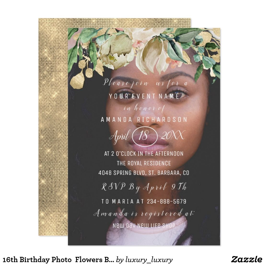 16th Birthday Photo Flowers Brunch Spark Gold Invitation