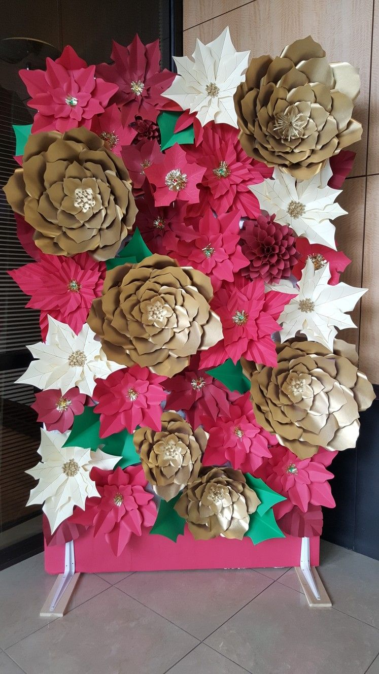 Poinsettia Christmas Flower Wall Paper Display Backdrop Theme Andrea G Big Paper Flowers Christmas Flowers Handmade Flowers Paper
