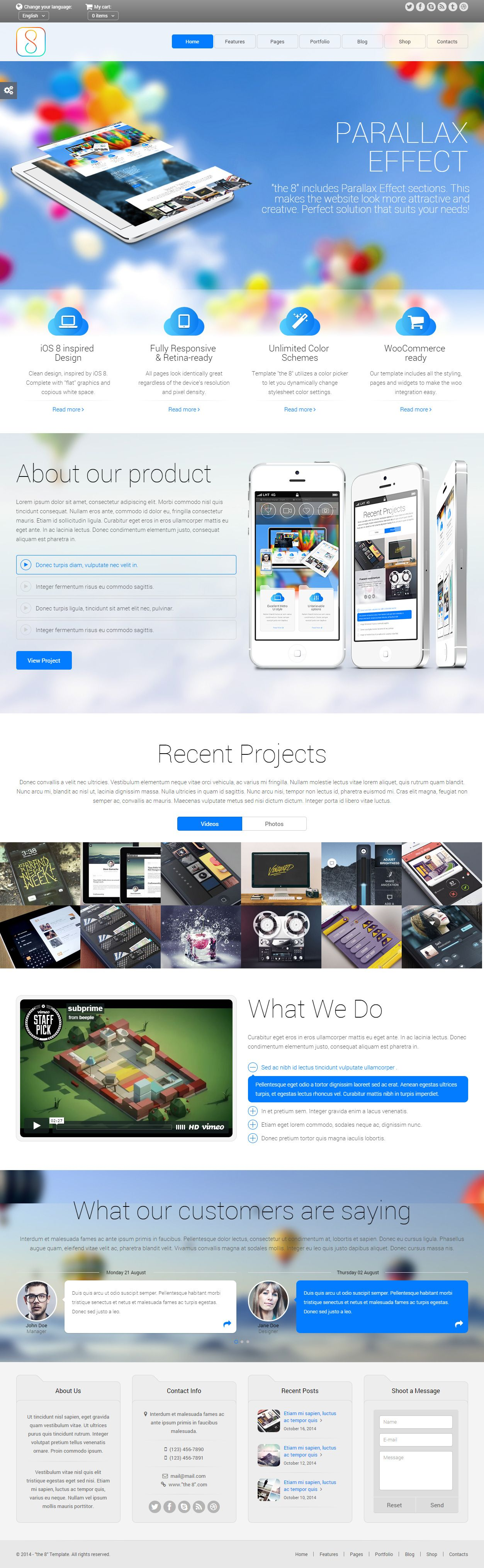 Parallax Website Template The 8 Is Premium Full Responsive Retina Html5 Business Template